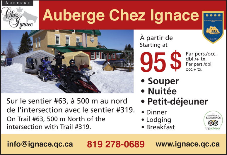 Auberge Chez Ignace Snowmobile Package